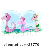 Clipart Illustration Of Three Pink Snakes In Clothes Slithering Along In A Row by bpearth