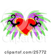 Clipart Illustration Of Two Silhouetted Monkeys Falling In Love Over A Background Of A Heart With Green And Purple Designs