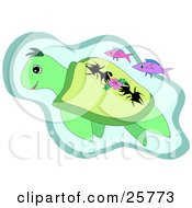 Clipart Illustration Of A Pair Of Pink Fish Swimming With A Green Sea Turtle In The Sea