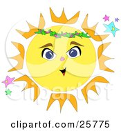 Clipart Illustration Of A Bright Yellow And Orange Sun With A Face