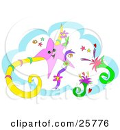 Clipart Illustration Of A Happy Pink Star With Flowers And Scrolls And A Blue Cloud Background
