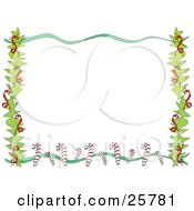Clipart Illustration Of A Stationery Border Of Branches Ribbons And Candy Canes Over White by bpearth