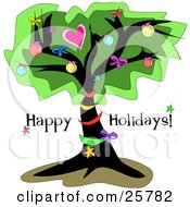 Clipart Illustration Of An Outdoor Tree Decorated In Christmas Ornaments And Bows On A Happy Holidays Greeting