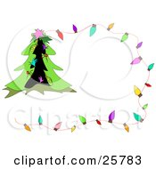 Clipart Illustration Of A Christmas Stationery Boder With Colorful Lights And A Decorated Tree