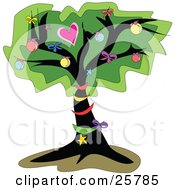 Clipart Illustration Of An Outdoor Tree Decorated In Christmas Ornaments And Bows