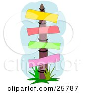 Clipart Illustration Of A Wooden Sign Post With Yellow Red Green And Pink Blank Posts