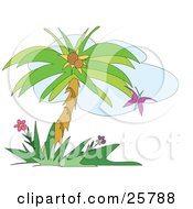 Clipart Illustration Of A Purple Butterfly Fluttering Near A Coconut Palm Tree And Flowers by bpearth