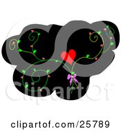 Clipart Illustration Of A Black Background With A Heart And Vine Flourishes With A Pink Bow