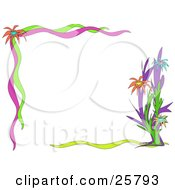 Clipart Illustration Of A Floral Border Of Orange Blue And Yellow Flowers With Pink Green And Yellow Ribbons Over White by bpearth