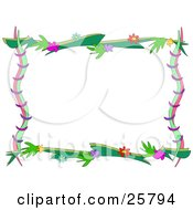 Clipart Illustration Of A Stationery Border Or Frame Made Of Pink Blue Purple Red And Yellow Flowers With Branches by bpearth