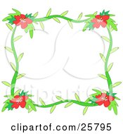 Clipart Illustration Of A Stationery Border Or Frame Of Green Stems And Red Hibiscus Flowers by bpearth