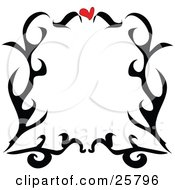 Clipart Illustration Of A Border Of Black Tattoo Scrolls And A Red Heart Over White by bpearth