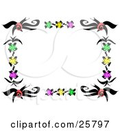 Clipart Illustration Of A Frame Or Stationery Border Of Red Green Yellow And Pink Flowers And Black Stems by bpearth