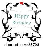 Clipart Illustration Of A Happy Birthday Greeting With A Red Heart And Black Scrolls by bpearth