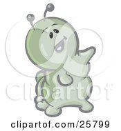 Clipart Illustration Of A Cute Green Caterpillar Character Shouting And Pointing by Leo Blanchette