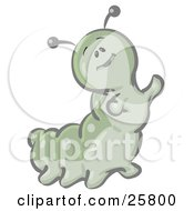 Clipart Illustration Of A Cute Green Caterpillar Character Waving His Arms And Smiling