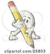 Clipart Illustration Of A White Konkee Character Writing With A Yellow Pencil