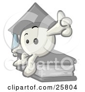 White Konkee Character Graduate In A Cap, Sitting On A Book