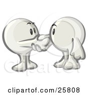 Clipart Illustration Of White Konkee Characters Shaking Hands