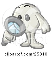White Konkee Character Inspecting With A Magnifying Glass