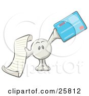 Clipart Illustration Of A White Konkee Character Holding A Receipt And A Blue Credit Card