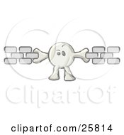 Clipart Illustration Of A White Konkee Character Holding Links Of A Chain Together Symbolizing Seo And Linking