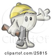 Clipart Illustration Of A White Konkee Character Construction Worker In A Hardhat Holding A Hammer