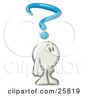 Clipart Illustration Of A White Konkee Character Pondering Over Something With A Blue Questionmark Over His Head