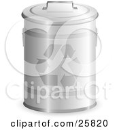 Clipart Illustration Of A Tin Recycle Bin With A Lid On And Arrows On The Front