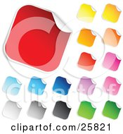 Clipart Illustration Of A Collection Of Red Blue Gray Black Yellow Orange Pink Purple And Green Blank Peeling Sticker Labels