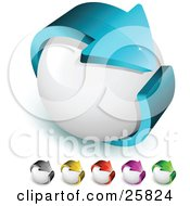 Clipart Illustration Of A Blue Arrow Circling A White Orb Symbolizing Recycling And Ecology And Includes Other Gray Yellow Red Purple And Green Color Versions