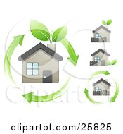 Clipart Illustration Of An Eco Friendly Home With Green Leaves Sprouting From The Chimney And Arrows Circling Around It by beboy