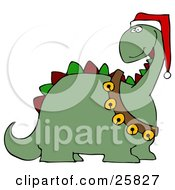 Clipart Illustration Of A Green Dinosaur With Red And Green Spikes Wearing A Santa Hat And Sash Of Jingle Bells