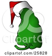 Clipart Illustration Of A Spicy Green Christmas Pepper Wearing A Santa Hat