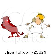 Red Evil Devil Woman In A Fight Of Tug Of War With A Good Angel Woman
