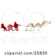 Clipart Illustration Of Three Bad Devils Playing Tug Of War With Three Good Angels by Dennis Cox