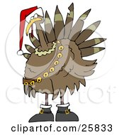Clipart Illustration Of A Festive Turkey Bird In A Santa Hat Boots And Jingle Bells