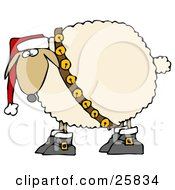 Clipart Illustration Of A Festive White Sheep In Boots Jingle Bells And A Santa Hat