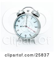 Clipart Illustration Of A Silver Alarm Clock At 9AM by KJ Pargeter