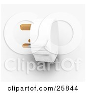 Clipart Illustration Of A White Three Pin Plug With Golden Prongs Over White by KJ Pargeter