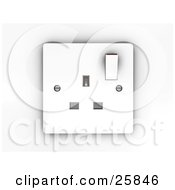 Clipart Illustration Of A White Electrical Three Pin Socket Plug In Face Plate by KJ Pargeter