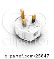 Clipart Illustration Of A Three Pin Plug With Golden Prongs by KJ Pargeter