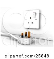 Clipart Illustration Of A Three Pin Plug Lying Near An Electrical Socket by KJ Pargeter