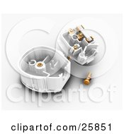 Clipart Illustration Of A Three Pin Plug Taken Apart And Showing The Center by KJ Pargeter