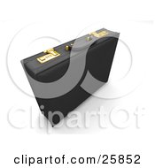 Clipart Illustration Of A Black Leather Briefcase With Golden Locks Standing On A White Background