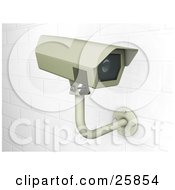 Clipart Illustration Of A Surveillance Camera Mounted On A White Brick Wall