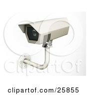 Clipart Illustration Of A Wall Mounted Security Camera Viewing Daily Life Over White by KJ Pargeter