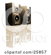 Clipart Illustration Of A Pair Of Black Stereo Speakers In Brown Lighting Side By Side On A Reflective White Surface