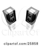 Clipart Illustration Of Two Black And Silver Stereo Speakers Facing Slightly Towards Each Other On A Reflective White Surface
