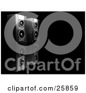 Clipart Illustration Of A Pair Of Black Speakers Side By Side Facing Right On A Reflective Black Surface by KJ Pargeter